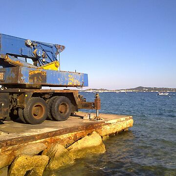 Old crane at the beach of Grimaud, opposite of St. Tropez. by robelf