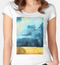 Watercolor landscape sky clouds Women's Fitted Scoop T-Shirt
