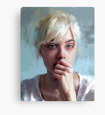 Lámina metálica retrato llorando