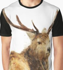 Winter Red Deer Graphic T-Shirt