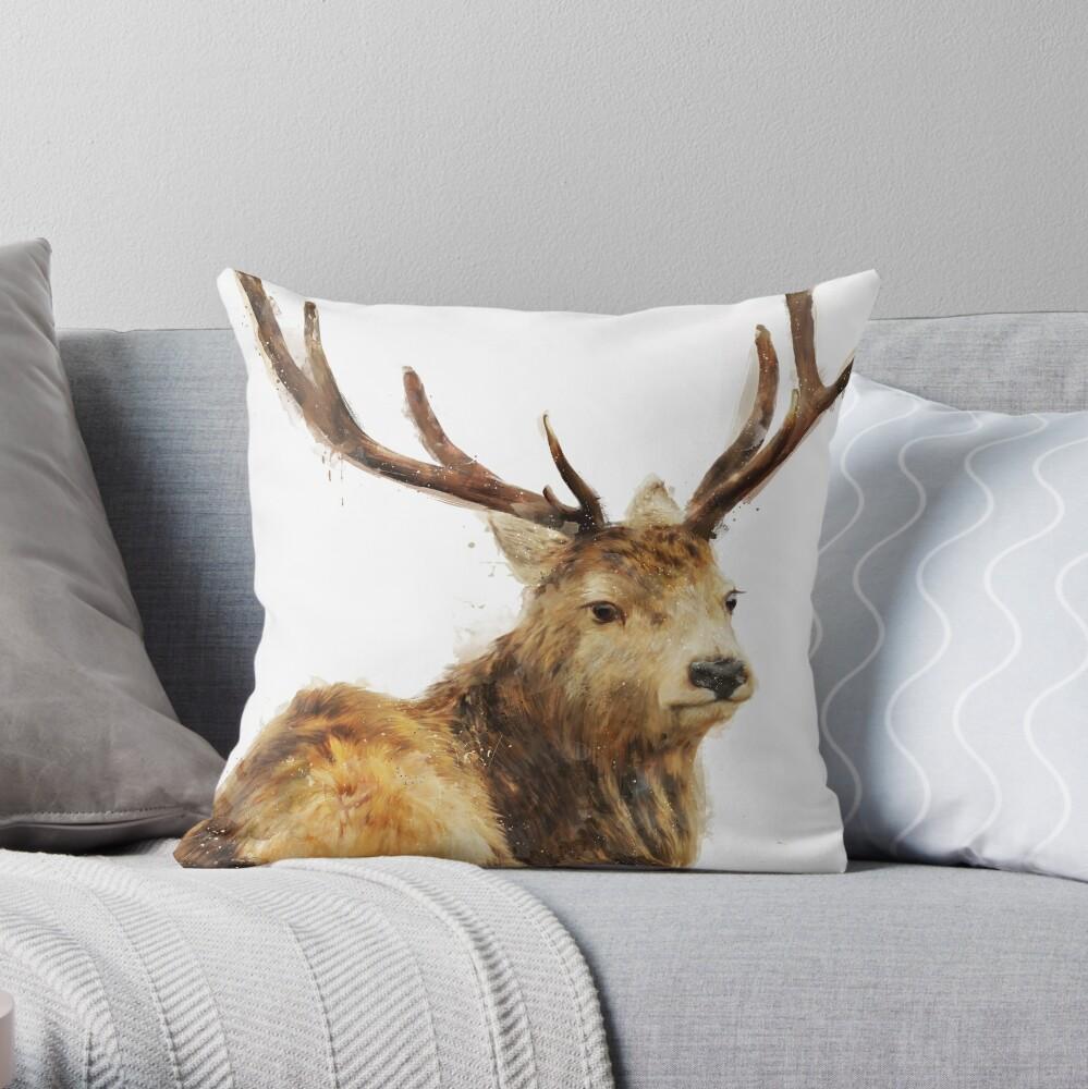 Winter Red Deer Throw Pillow