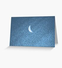 Sliver of the Moon in Shades of Blue Greeting Card