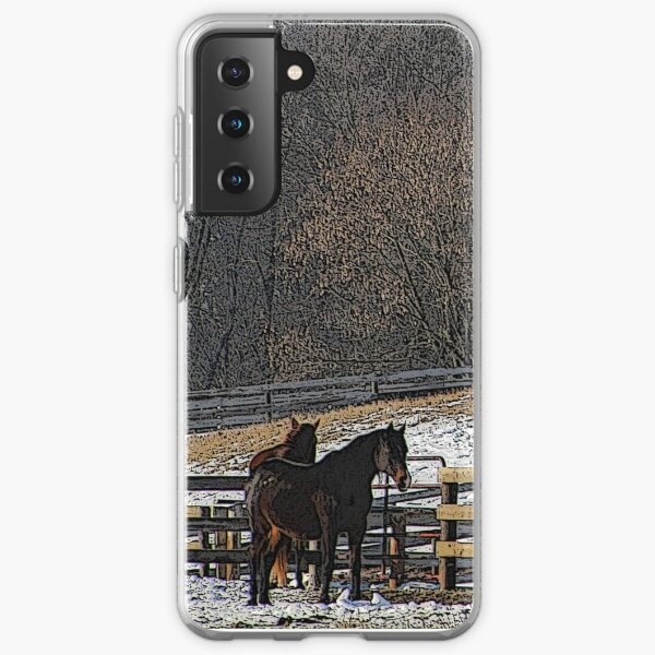Horses in Snowy Pasture Samsung Galaxy Soft Case