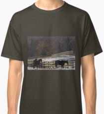 Horses in Snowy Pasture Classic T-Shirt