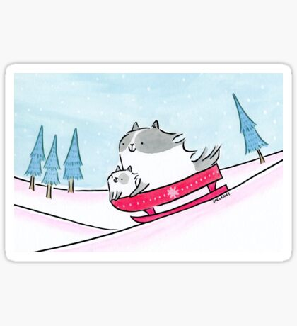 Fluffy Cats on a Sledge Sticker