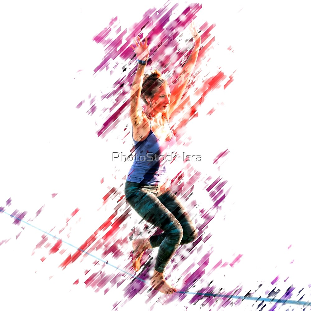 Digitally enhanced image of a woman Slacklining  by PhotoStock-Isra