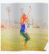Digitally enhanced image of a woman Slacklining  Poster