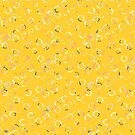 Polka Dots Stamps on Vivid Yellow by designdn