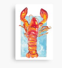 Lobster in watercolors - food illustration Canvas Print