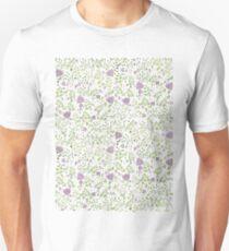 Purple Floral Watercolour Pattern T-Shirt