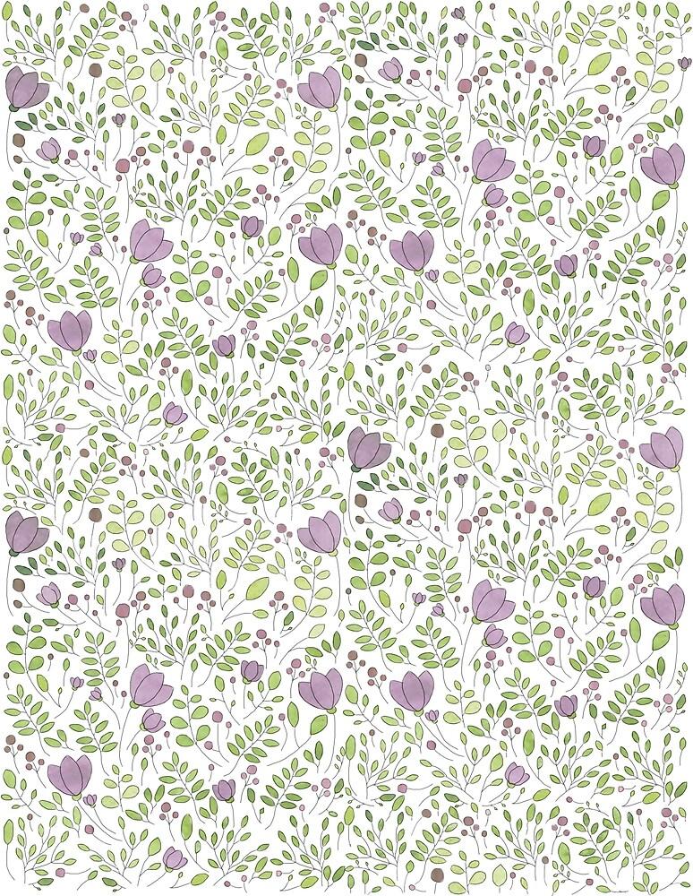Purple Floral Watercolour Pattern by emily  gaskin