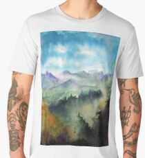 Watercolor landscape sky clouds Men's Premium T-Shirt