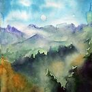 Watercolor landscape sky clouds by OlgaBerlet