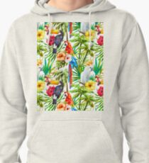Tropical Parrot, Cockatoo and Toucan Rainforest Pullover Hoodie