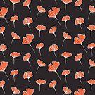 Ginkgo Biloba Leaves Pattern Dark by designdn