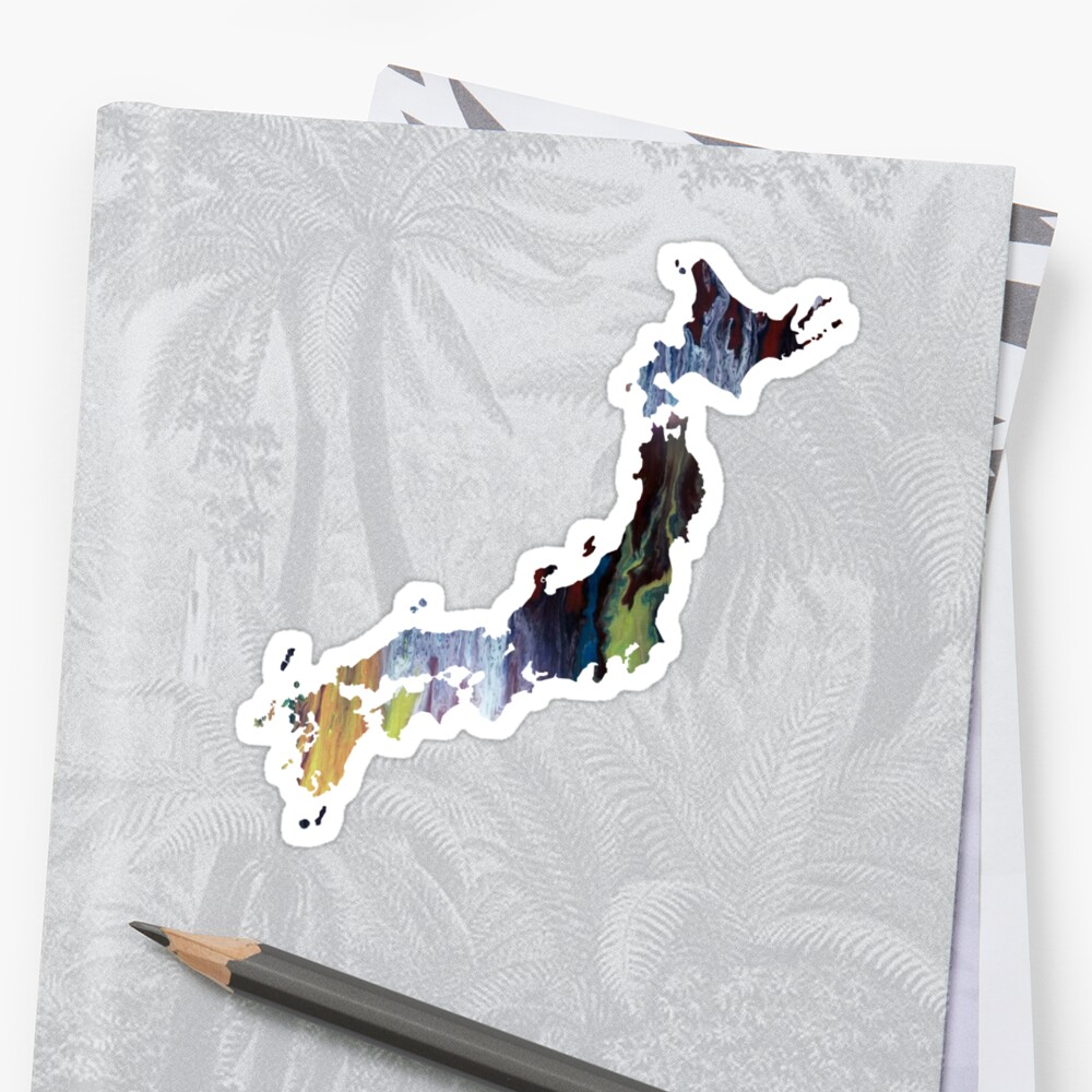 Colorful japan silhouette Sticker Front