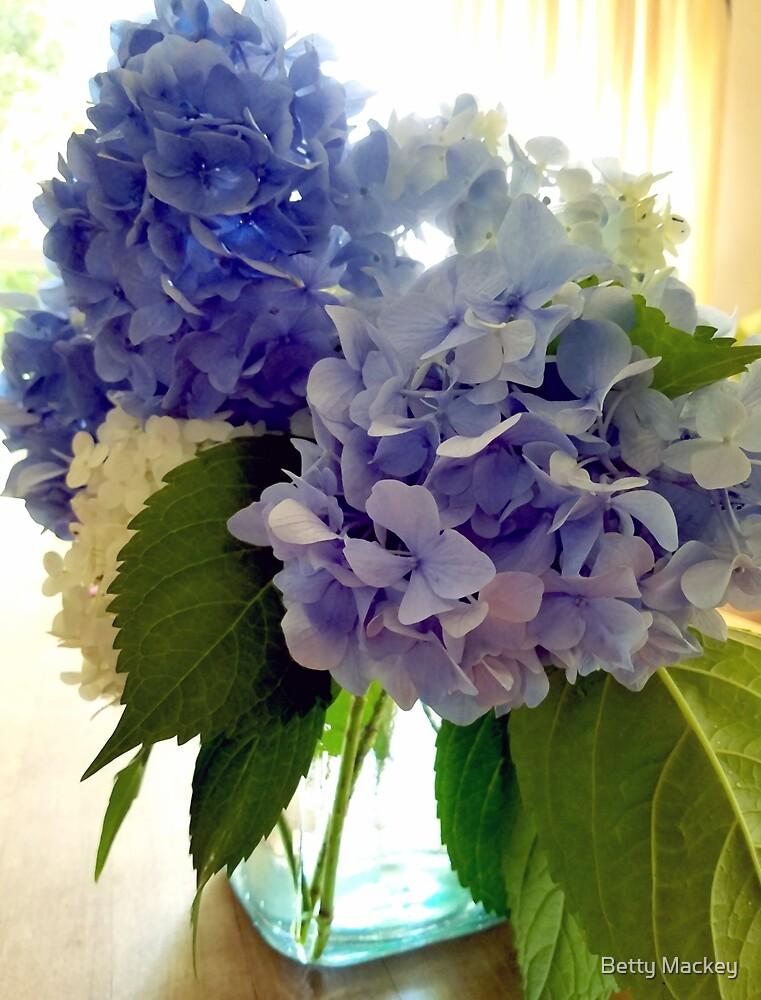 Blue Hydrangea Bouquet by Betty Mackey