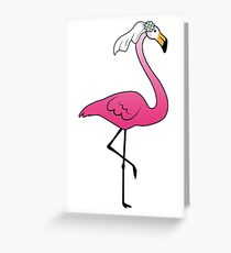 Pink Flamingo Fiances > Bride + Groom > Wedding Gift Greeting Card