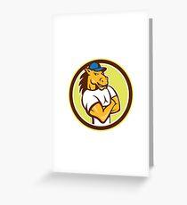 Horse Arms Crossed Circle Cartoon Greeting Card