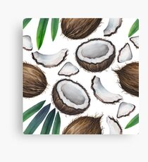 Watercolor coconut pattern Canvas Print