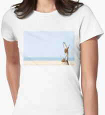 Dried Burdock branch on sandy desert and coastline background. Women's Fitted T-Shirt