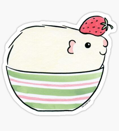 Cream ( guinea pig ) with Strawberry Sticker