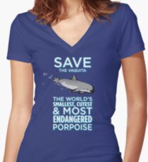 Save the Vaquita Women's Fitted V-Neck T-Shirt