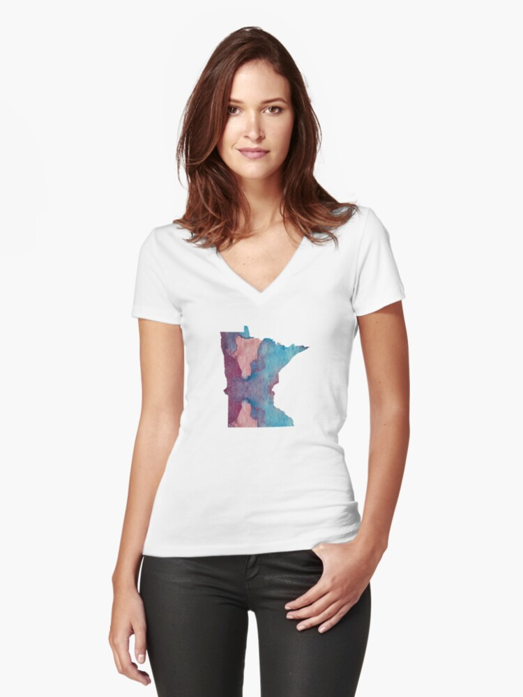Colorful minnesota silhouette Women's Fitted V-Neck T-Shirt Front