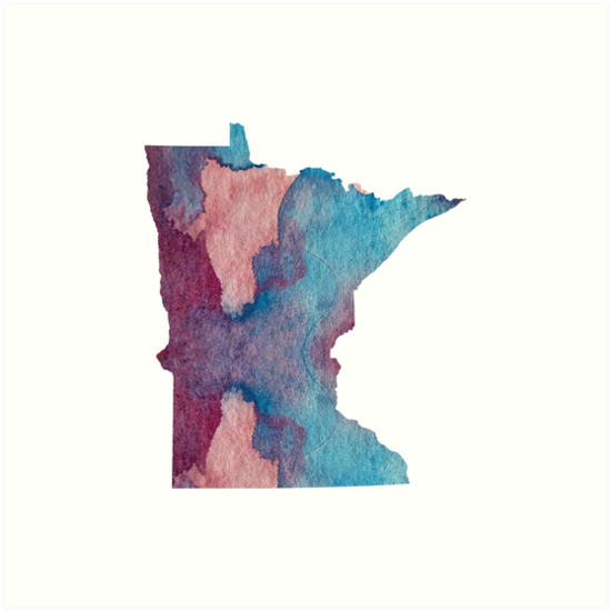 Colorful minnesota silhouette by BittenByErmines