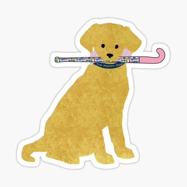 Golden Retriever Preppy Madras Field Hockey Dog Sticker