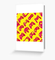 Video game controller background Gadgets seamless pattern Greeting Card