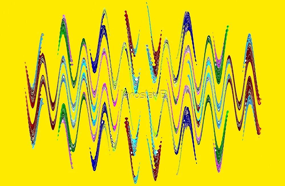 Multicolored abstract spirals and waveform pattern on yellow background. by IaroslavB