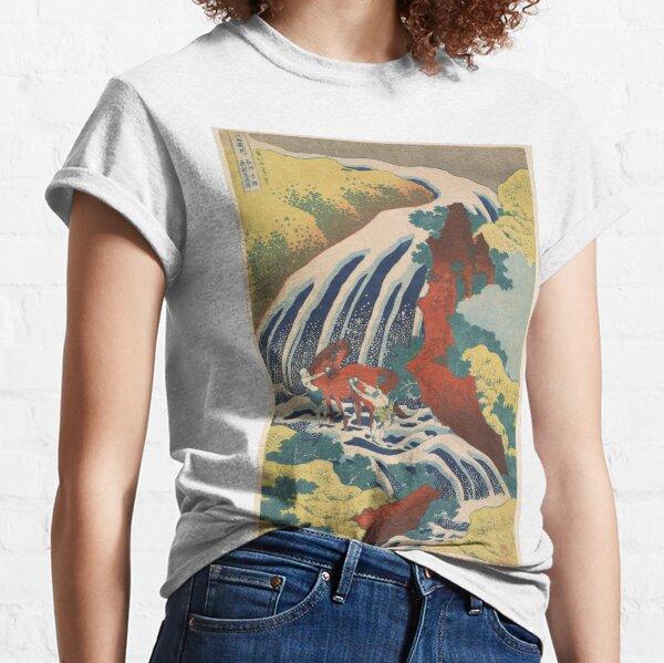 Yoshino Waterfalls Where Yoshitsune Washed his Horse by Katsushika Hokusai Classic T-Shirt