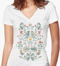 Swedish Folk Cats Women's Fitted V-Neck T-Shirt