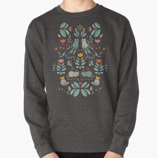 Swedish Folk Cats Pullover Sweatshirt