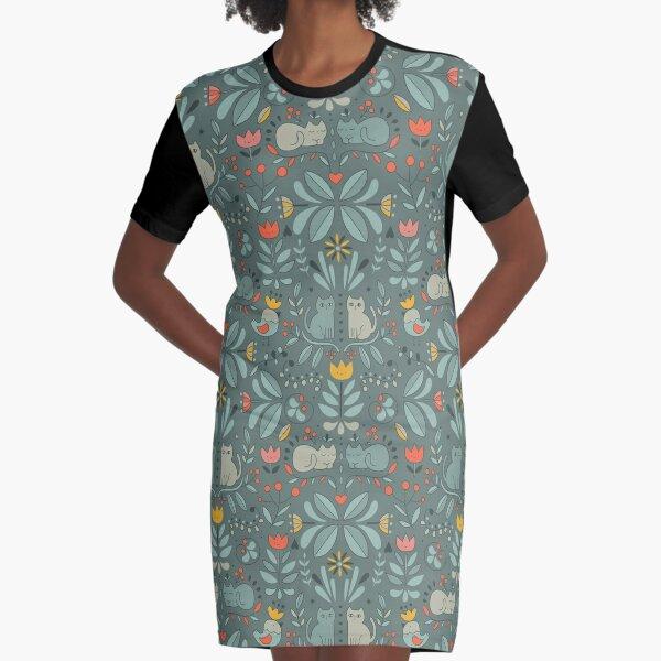 Swedish Folk Cats Graphic T-Shirt Dress
