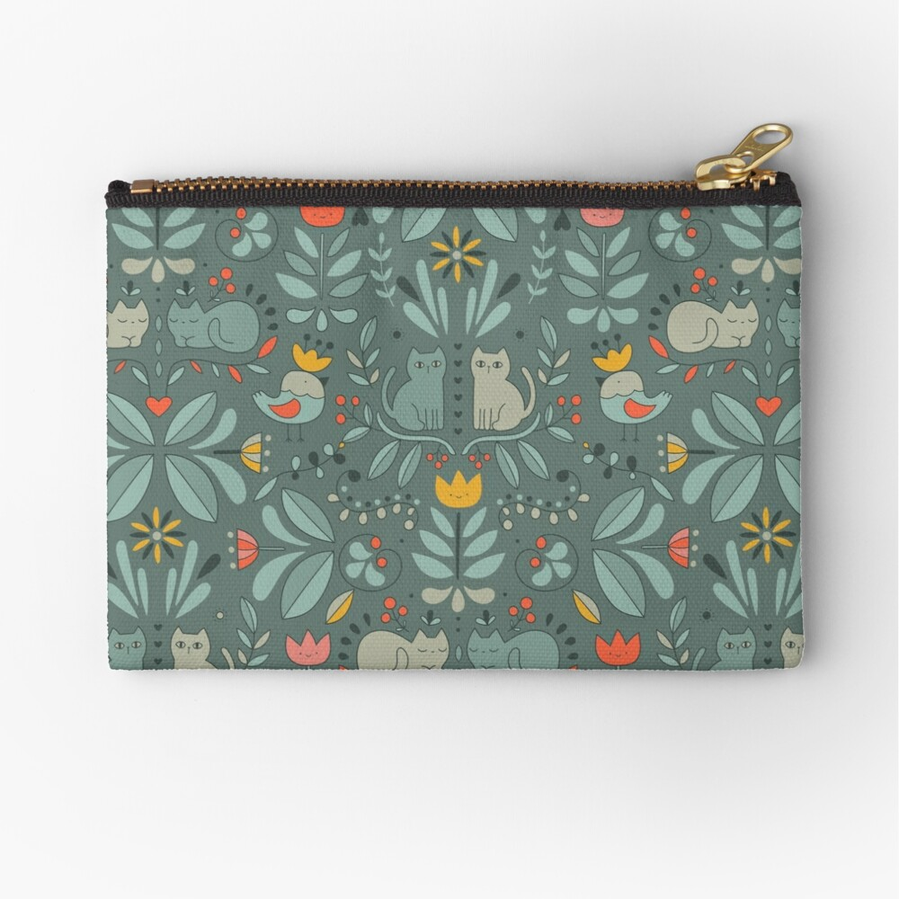 Swedish Folk Cats Zipper Pouch