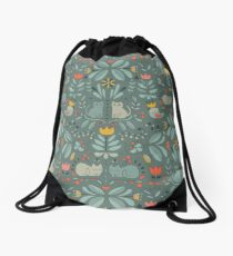 Swedish Folk Cats Drawstring Bag