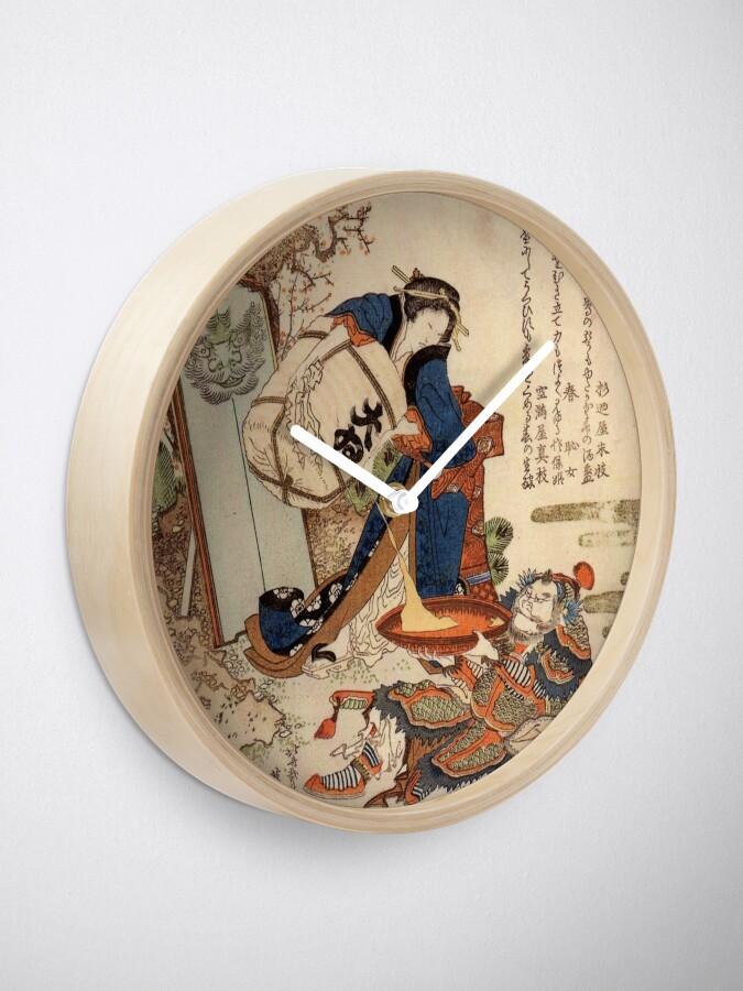Alternate view of The Strong Oi Pouring Sake by Katsushika Hokusai Clock