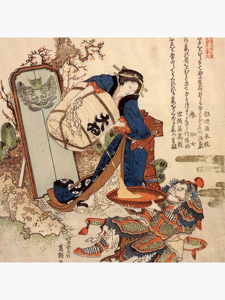 The Strong Oi Pouring Sake by Katsushika Hokusai by podartist