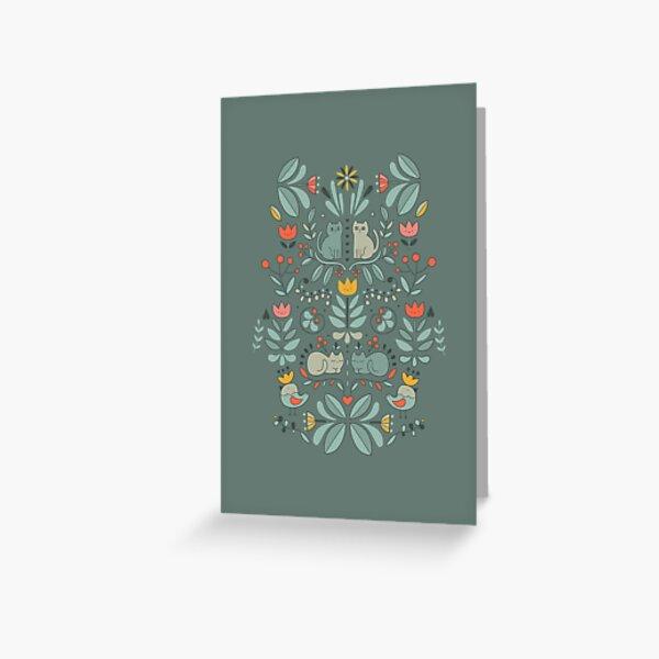 Swedish Folk Cats Greeting Card