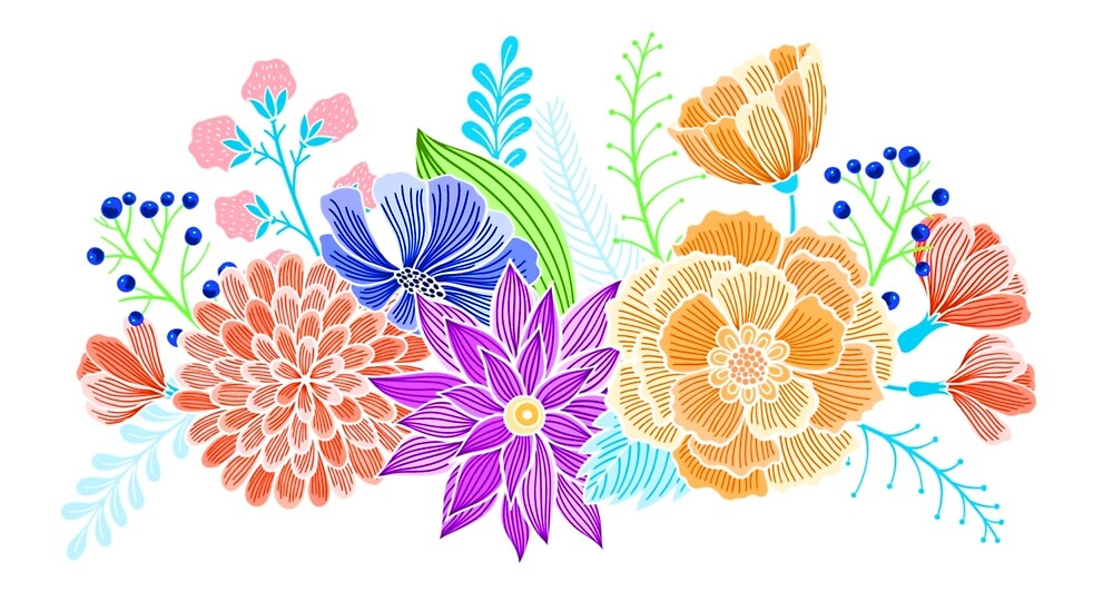 Red Pink Blue Purple Retro Floral by Vicky Brago-Mitchell