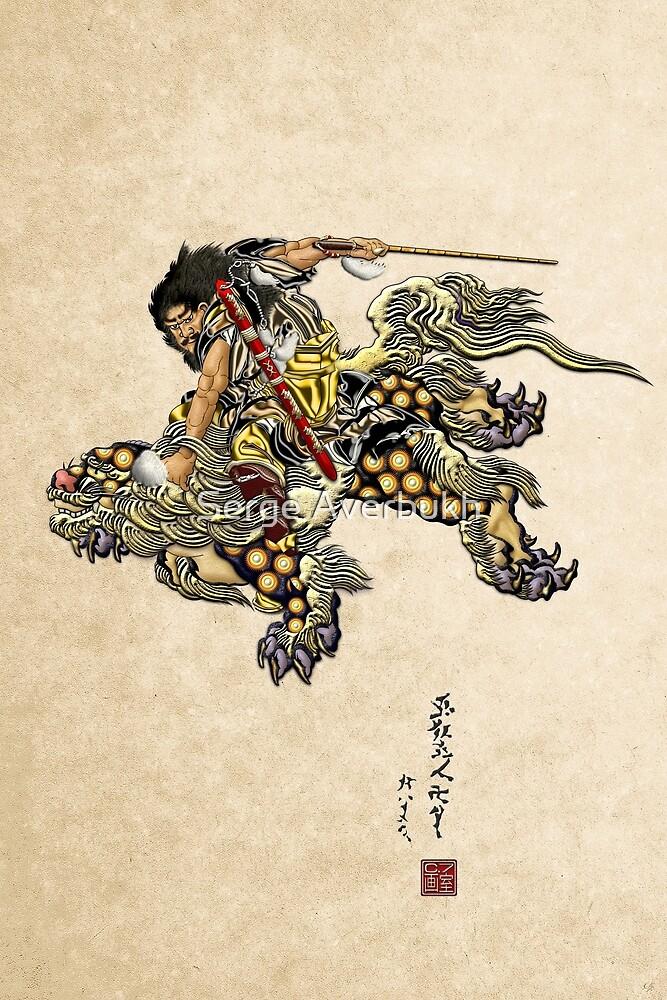 Tribute to Hokusai - Shoki Riding a Lion Revisited  by Serge Averbukh