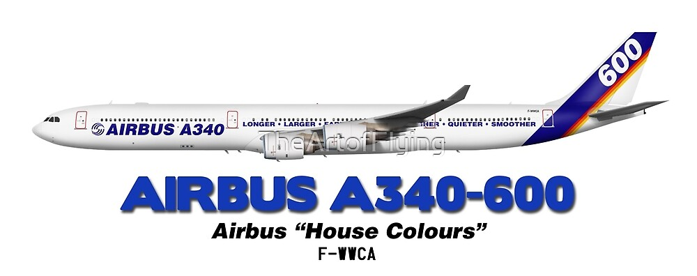 """Airbus A340-600 - Airbus """"House Colours"""" by TheArtofFlying"""