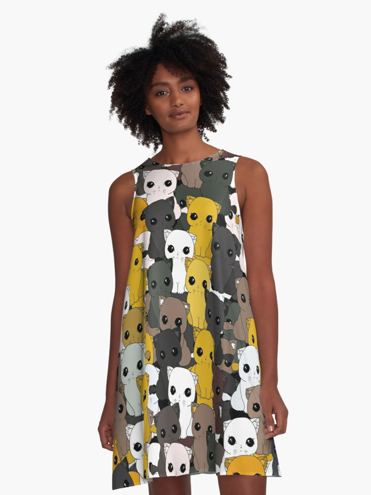 Cute cats pattern A-Line Dress Front