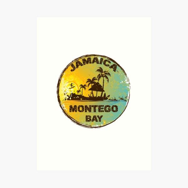 Retro Montego Bay Jamaica Art Design Art Print