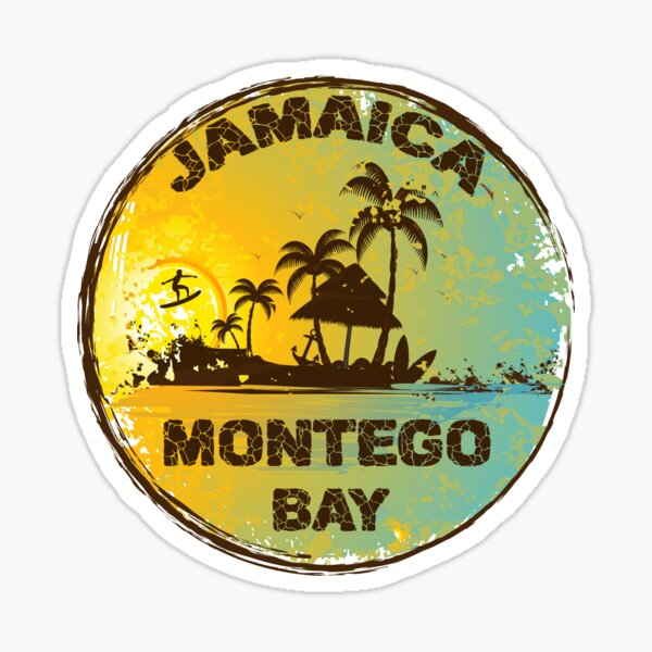 Retro Montego Bay Jamaica Art Design Sticker