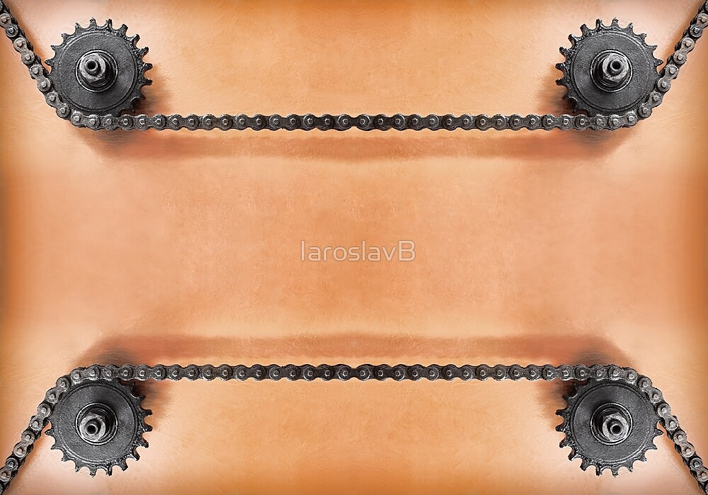 Metal cogwheels and double chain as technology background. by IaroslavB