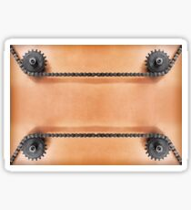 Metal cogwheels and double chain as technology background. Sticker