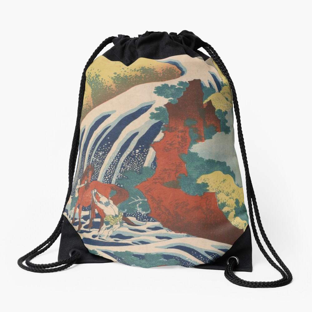 Yoshino Waterfalls Where Yoshitsune Washed his Horse by Katsushika Hokusai Drawstring Bag